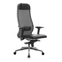 Кресло Metta L 1m 36/4D Сетка X2 Черный/Кожа NL перф. Черный